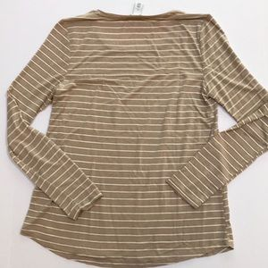 White House Black Market Tops - Gold metallic stripe long sleeve top by WHBM sz S